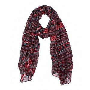 Chic Soft Red Floral Boho Striped Scarf